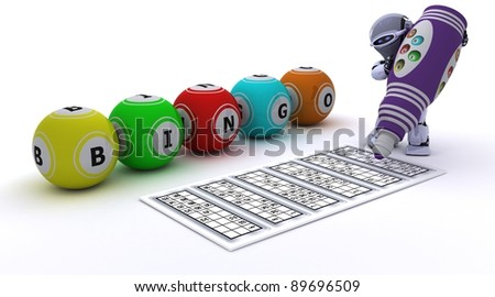 3d render of a robot playing bingo