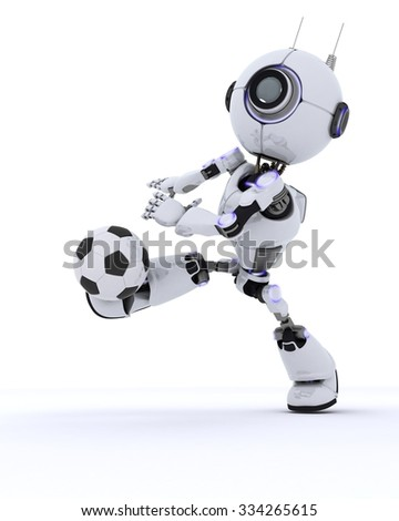 3D Render of a Robot playing football