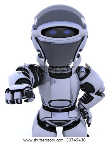 3D render of a robot pointing back out at you