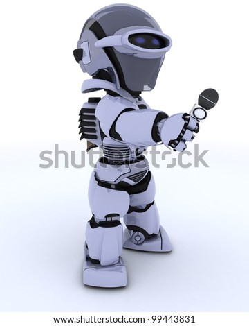 3D render of a Robot reporter with a microphone