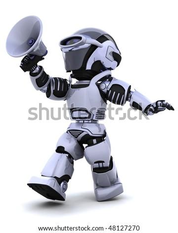 3D render of a robot shouting into bullhorn - stock photo