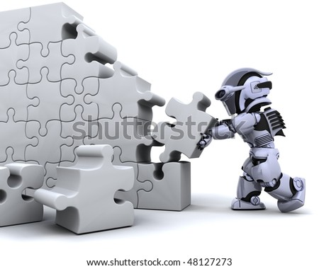 3D render of a robot solving jigsaw puzzle - stock photo