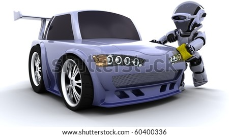3D render of a robot washing a car - stock photo