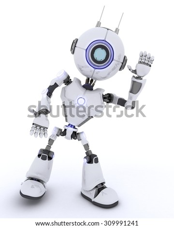 3D render of a Robot waving hello - stock photo