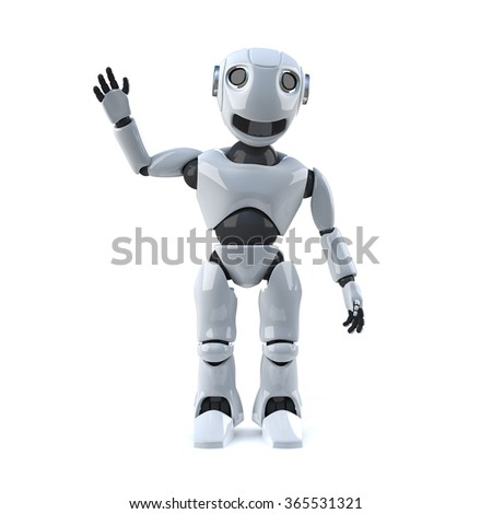 3d render of a robot waving his hand in the air.