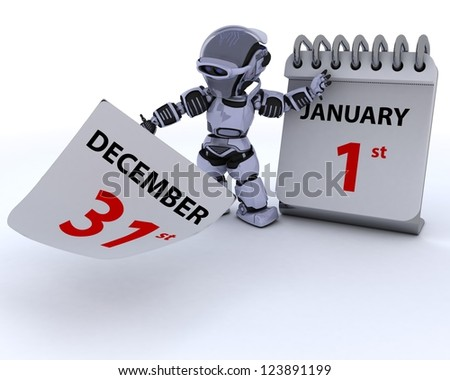3D render of a robot with a calender - stock photo