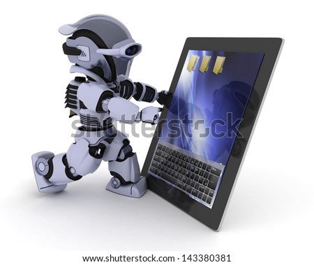 3D render of a Robot with a digital tablet - stock photo