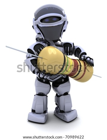 3D Render of a Robot with a resistor - stock photo