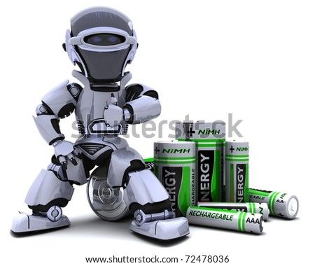 3D render of a Robot with Batteries - stock photo
