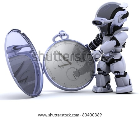 3D render of a robot with classic pocket watch - stock photo