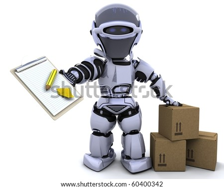 3D render of a robot with clipboard and boxes