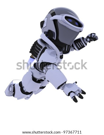3D render of a robot with jet pack flying - stock photo