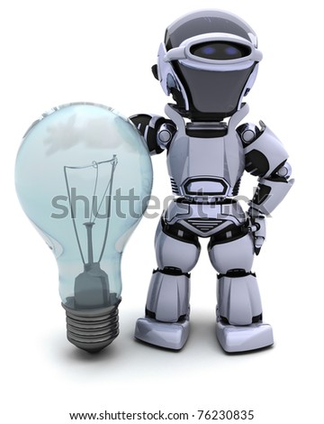 3D Render of a Robot with light bulb - stock photo