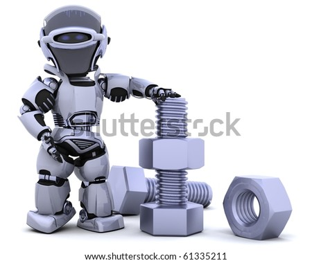3D render of a robot  with nuts and bolts - stock photo