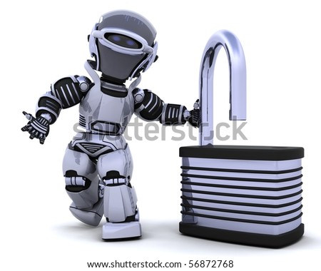 3D Render of a robot with padlock - stock photo
