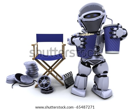 3D render of a robot with popcorn and soda with directors chair - stock photo