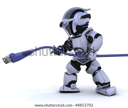3D render of a robot with RJ45 cable - stock photo
