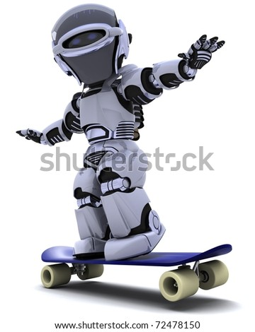 3D render of a Robot with skateboard - stock photo