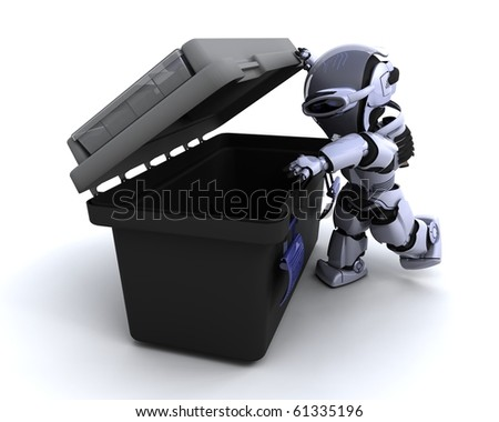 3D render of a robot  with tool box - stock photo