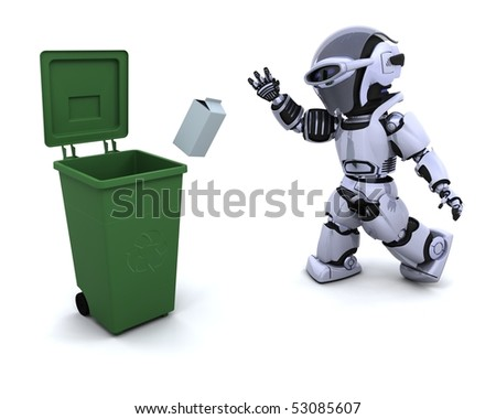 3D render of a robot with trash - stock photo