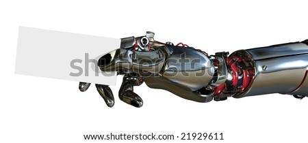 3D render of a robotic arm holding a business card. - stock photo