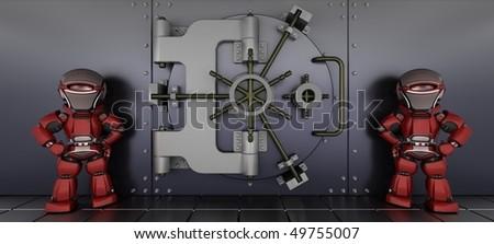 3D render of a robots guarding a bank vault - stock photo