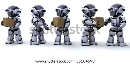 3D render of a robots moving shipping boxes