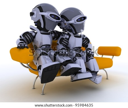 3D render of a robots sitting on a sofa - stock photo