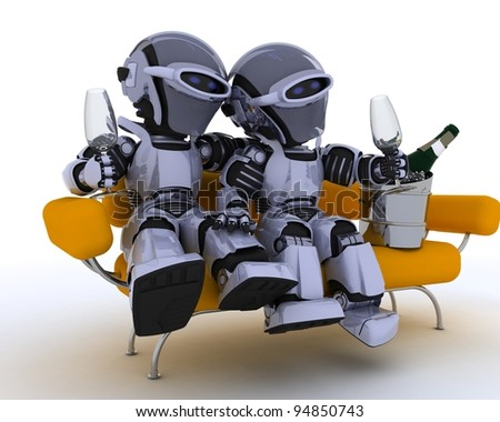 3D render of a robots sitting on a sofa drinking champagne - stock photo