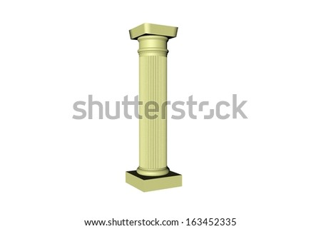 3D render of a roman column isolated over white
