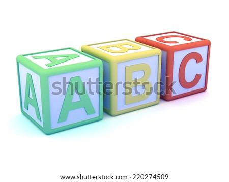 3d render of a row of alphabet wooden blocks - stock photo