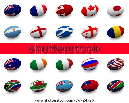 3D Render of a rugby ball with the national flag of each of the 20 participating nations in the rugby world cup. - stock photo