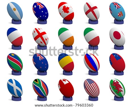 3D Render of a rugby ball with the national flag of each of the 20 participating nations in the rugby world cup, on a kicking tee - stock photo
