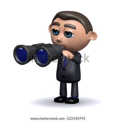 3d render of a salesman with a pair of binoculars - stock photo