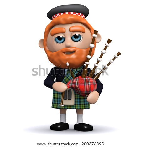 3d render of a Scotsman playing bagpipes - stock photo