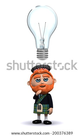 3d render of a Scotsman with a lightbulb above his head