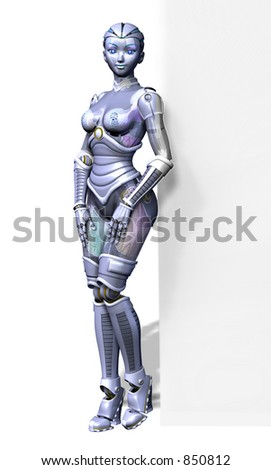 3D render of a sexy female robot leaning against the edge of a blank sign. - stock photo