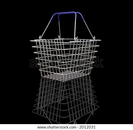 3D render of a shopping basket - stock photo