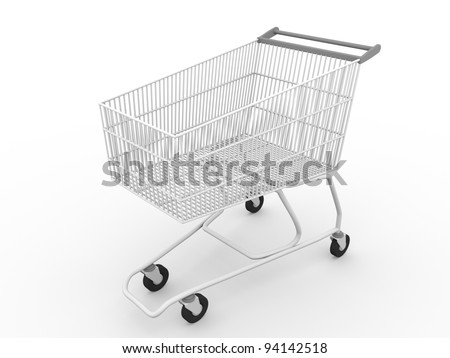3d render of a shopping cart in white