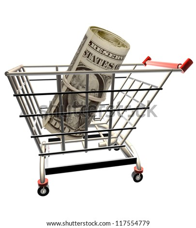 3D render of a shopping cart over white background with roll of dollars