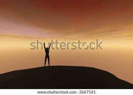 3D render of a silhouetted against the sky, overjoyed, shouting to the heavens