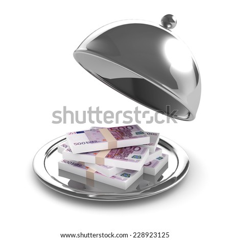 3d render of a silver tray full of bank notes - stock photo