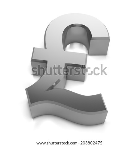 3d render of a silver UK Pounds sterling currency symbol