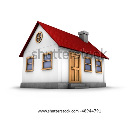 3D render of a simple house