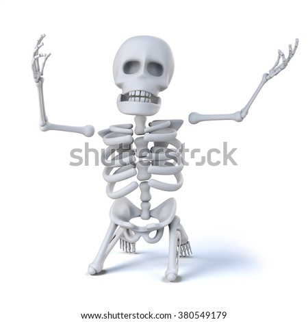 3d render of a skeleton on his knees and holding his arms aloft in total despair. - stock photo