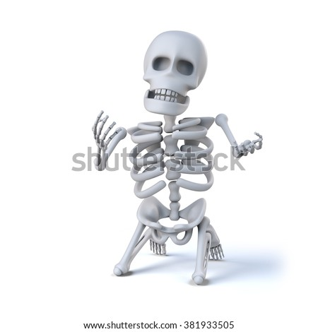 3d render of a skeleton on his knees in despair - stock photo