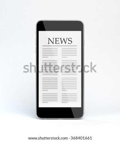 3D render of a smart phone with news page on it. Isolated on white with clipping path.