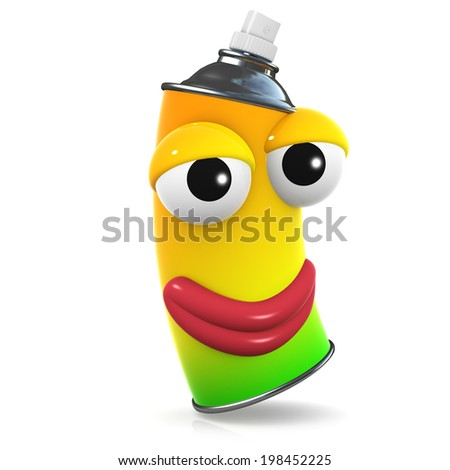 3d render of a smiling spray paint aerosol can - stock photo