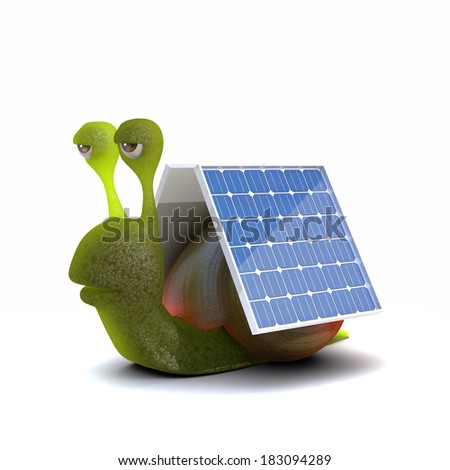3d render of a snail with solar panels attached - stock photo