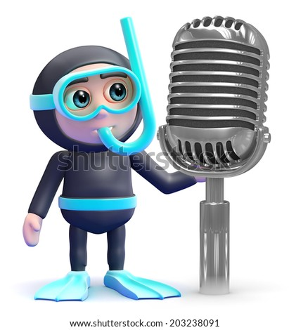 3d render of a snorkel diver and retro radio microphone - stock photo